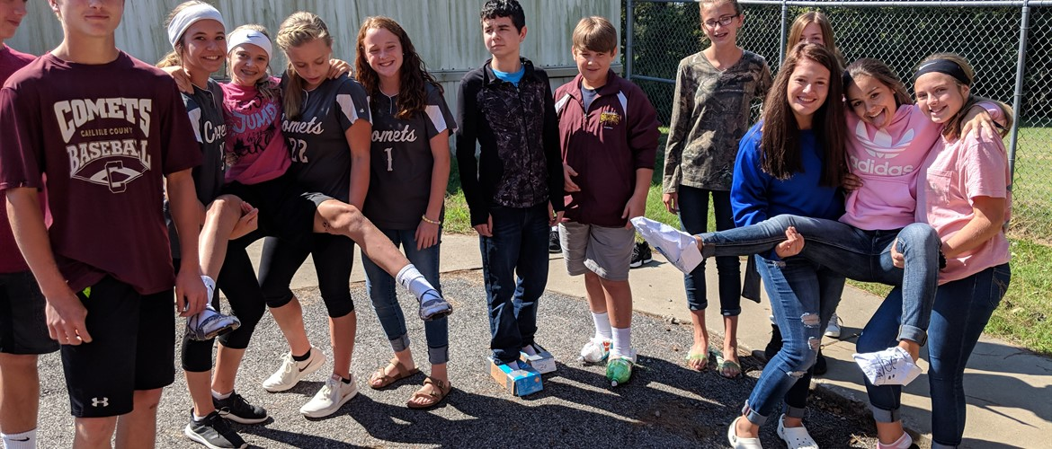 Shoes made from recyclable material.  Students had to walk one mile in them for Mrs. Gilbert's 8th grade Science class.