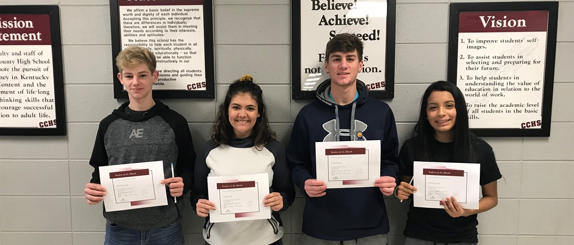 Carlisle County High School December Students of the Month: Left to Right: Josh Newsome, Freshman; Audrey Gill, Sophomore; Clint Draper, Junior; Brittany Tovar, Senior.