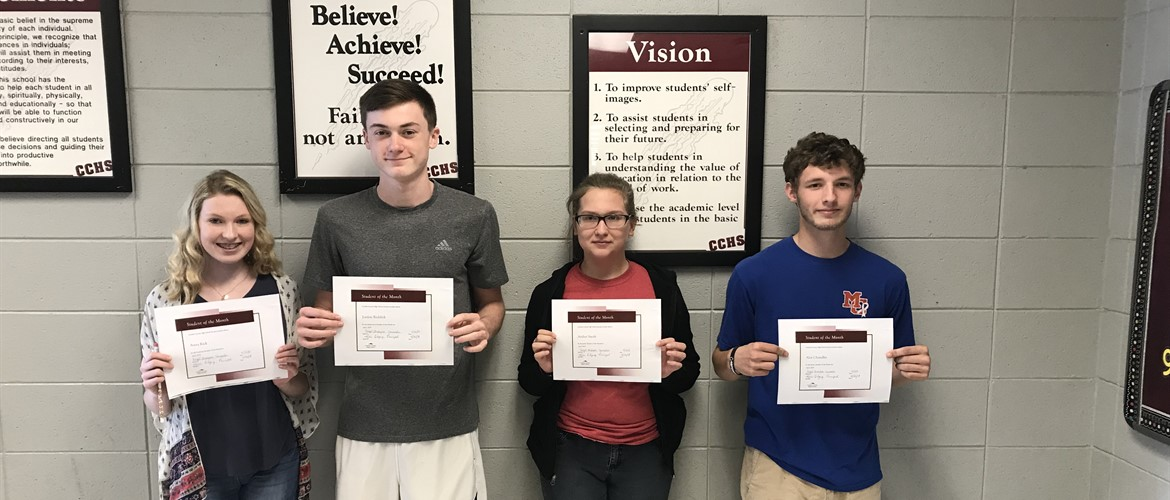 CCHS April Students of the Month from Left to Right: Freshman- Avery Kick, Sophomore- Jordan Reddick, Junior- Amber Smith, Senor- Alex Chandler