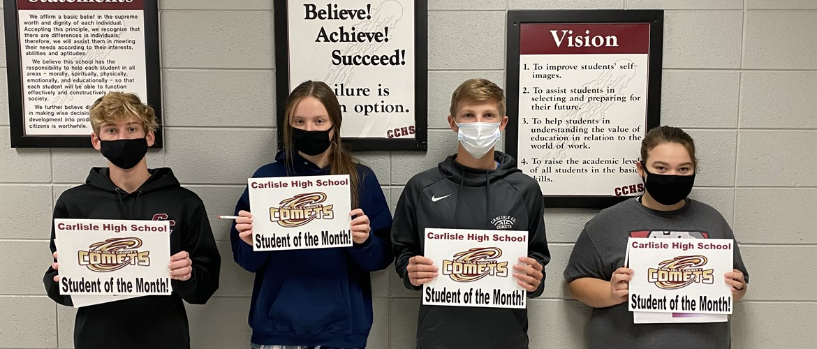 Carlisle County High School September Students of the Month from left to right:  Freshman:  Joseph Wilson,  Sophomore:  Ally Dietsch,  Junior:  Evan Oliver,  Senior:  Lizzie McGary