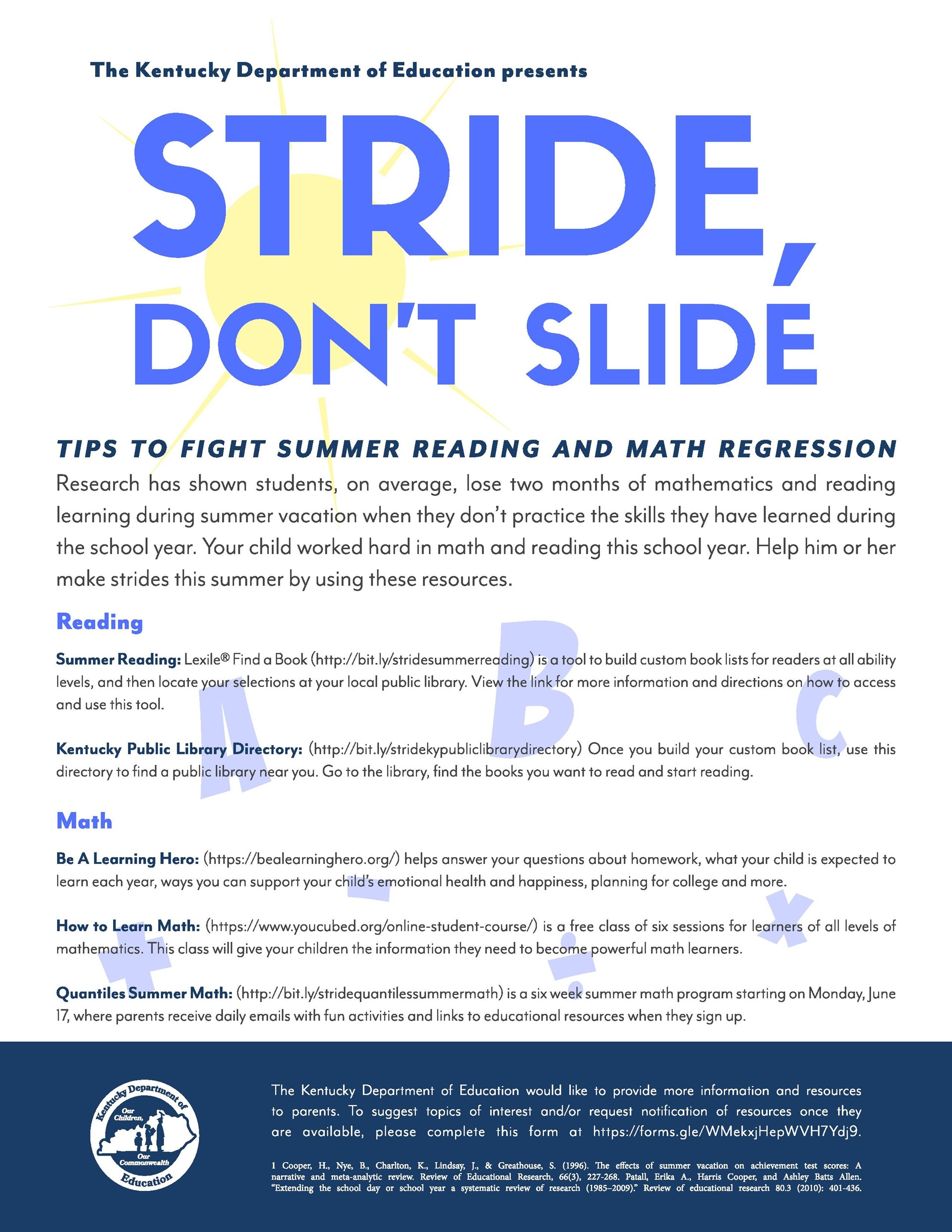 Summer Stride, Not Slide