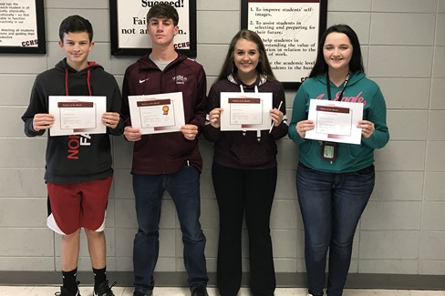 CCHS September Students of the Month   Freshmen - Clayton Latham Sophomore -  Clint Draper Junior - Kaitlyn Draper Senior - Maredith DeRousse