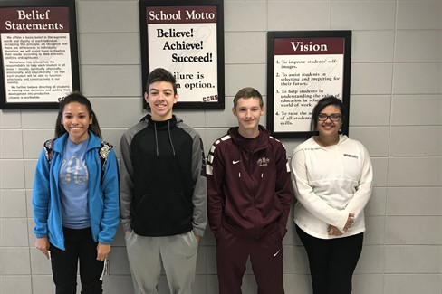 CCHS October Students of the Month Right to Left: Freshman - Whitney Alexander Sophomore - Logan Storey Junior - Alex Chandler Senior - Destinee Turnbow