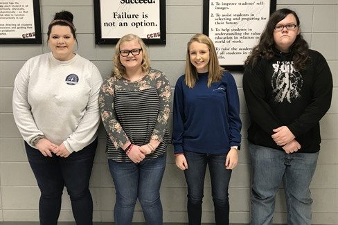 High School November Students of the Month   from right to left: Senior, Anna Grace Terry Junior, Mylinda Turner Sophomore, Taylor Owens Freshman, Lane Williams
