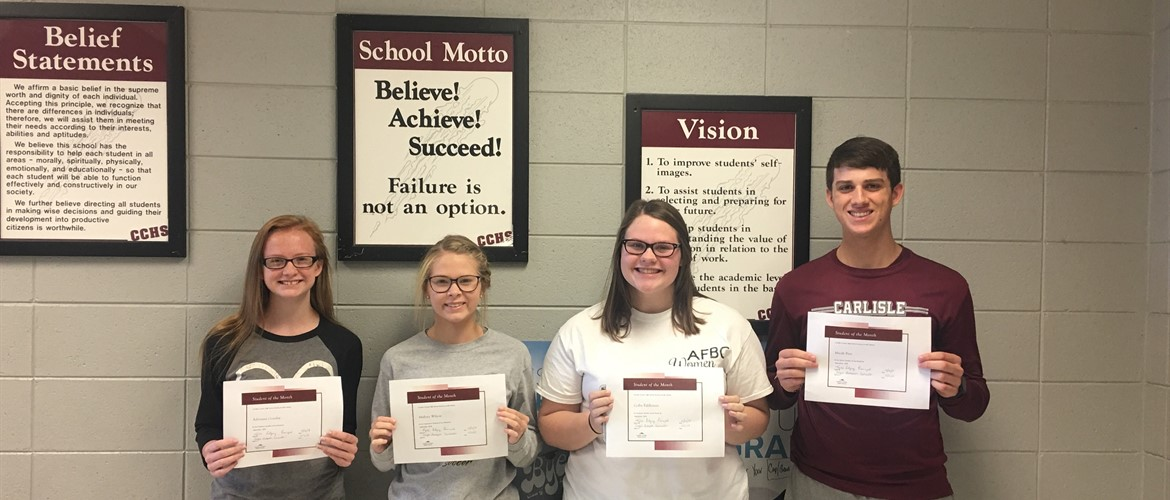 Carlisle County High School September Students of the Month (L to R)  Freshman - Adrianna Gourley Sophomore - Mallory Wilson Junior - Colby Eddleman Senior - Micah Bice