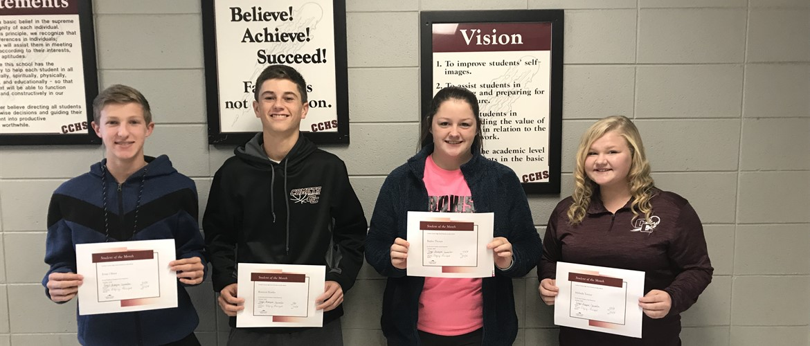 Carlisle County High School students of the month for October from left to right: Freshman, Evan Oliver; Sophomore, Kannon Bowles; Junior, Baylee Thorpe; Senior, Mylinda Turner.